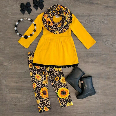 Toddler Kids Baby Girl Outfits Clothes T-shirt Tops Dress Leopard Leggings Pants