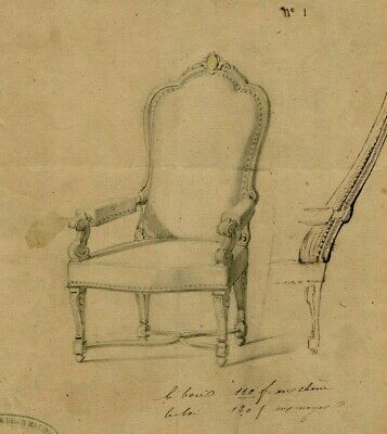 19th century Vintage Old Ink Drawing - Dessin Ancien - Chair, Chaise, Designer
