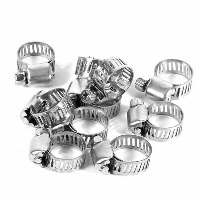 """10pcs 3/8""""-1/2"""" Stainless Steel Adjustable Drive Hose Clamp Fuel Line Worm Clip"""