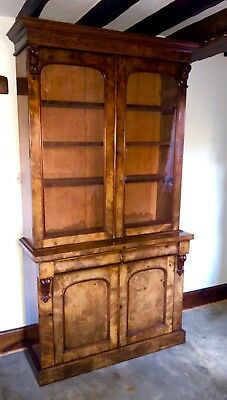 Antique Victorian Burr Walnut Glazed Bookcase Display Cabinet On Cupboard