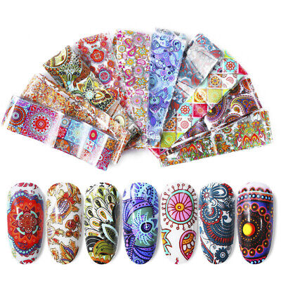10x Bohemia Holographic Flower Nail Foils Decal Nail Art Transfer Stickers Tips