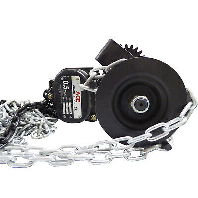 1 Tonne x 10 metre COMBINATION LIFTING CHAIN BLOCK with PUSH TROLLEY suspension