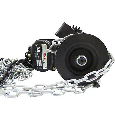 0.5 Tonne x 3 metre COMBINATION LIFTING CHAIN BLOCK with GEARED TROLLEY