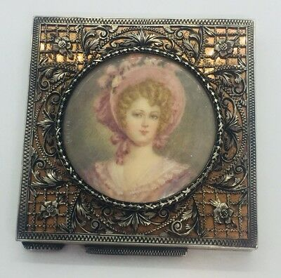 Antique 800 Italy Sterling Silver & Miniature Portrait Floral Compact Case