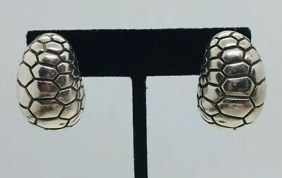Tiffany & Co. Authentic Sterling Silver Reptile Pattern Dome Earrings 1996