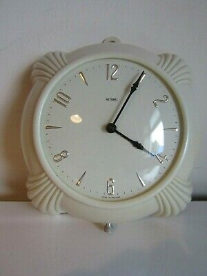 Antique Metamec Cream Dereham Bakelite Electric Wall Clock Art Deco Era