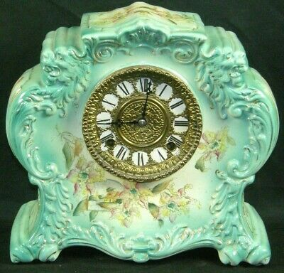 Antique Ansonia Gilbert Royal Bonn Porcelain Chime Mantle Clock Devgru Lion