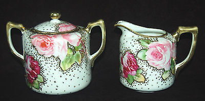 Beautiful Nippon Creamer And Covered Sugar Bowl - Moriage Gold - Rose Decoration