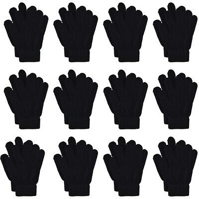 Adult Winter Stretchy Warm Knit Magic Black Gloves One-Size Fits 12 Pairs