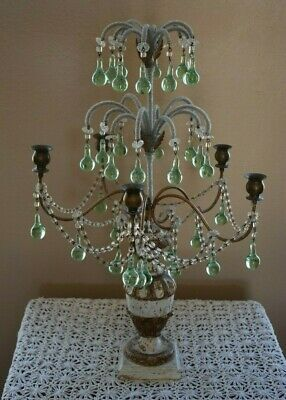 Antique Candelabra Ornate Beaded Round Glass Tear Prisims 5 Candles