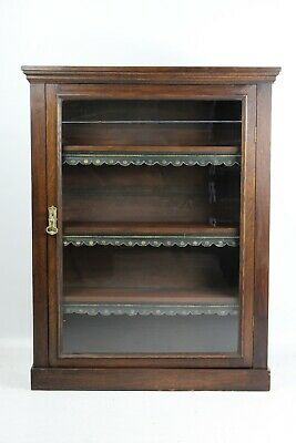 Antique Victorian Oak Bookcase - Display Pier Cabinet Hall Cupboard Book Shelves