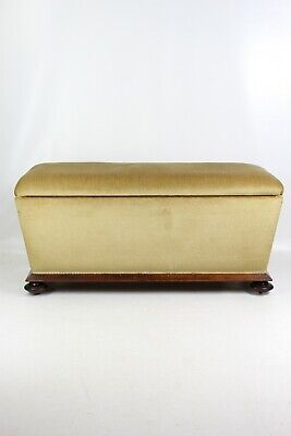 Antique Victorian Ottoman - Large Blanket Chest Window Seat Coffer Toy Box Bench