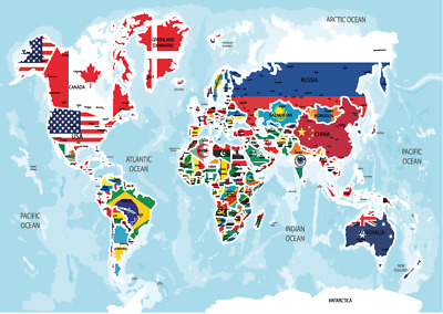 World Map Atlas Poster Small A5 Size Laminated HD Print Countries Flags Learning