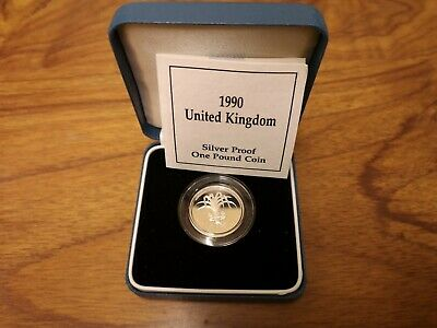 1990 United Kingdom SILVER Proof one pound £1 coin - 9.5g sterling
