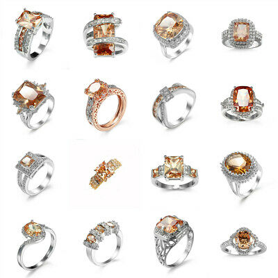16 Styles Women Fashion Jewelry Champagne Crystal Gemstone Silver Ring Size 6-10