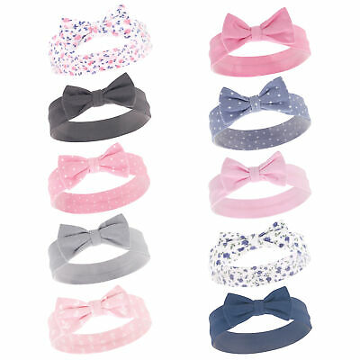 Hudson Baby Girl Headbands 10-Pack, Pink and Blue Flower, One Size