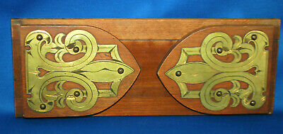 A Victorian medieval gothic bookslide, mahogany, brass end detail