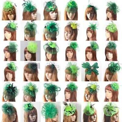 Lady Green Handmade Fascinator Flower Hat Lace Veil Hair Clip Party Accessory