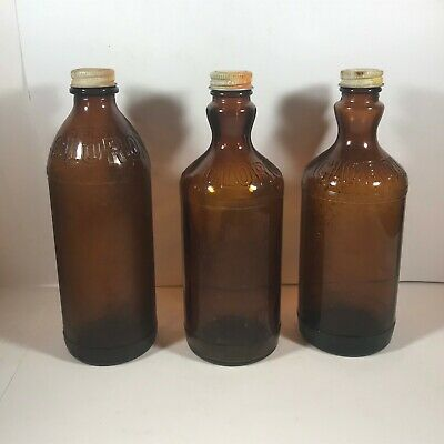 Lot of 3 16 oz Amber Glass Embossed Flared Neck CLOROX Bottles