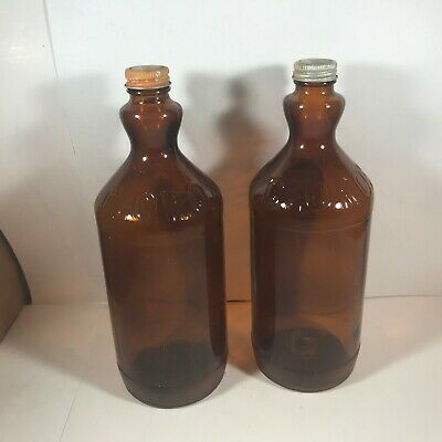 Pair of Vintage 1 Qt Amber Glass Embossed Flared Neck CLOROX Bottles