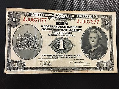 Bank Note 1943 Nederlandsh Indi 1 Dutch East Indies