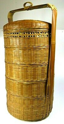 Vtg Chinese Wedding Basket 5 Tier Bamboo Stacking Wicker Sewing Basket Full