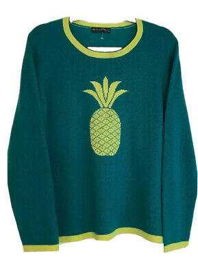 Womens Sweater Long SleeveCashmere Large Teal Yellow Green Pineapple Hannah Rose