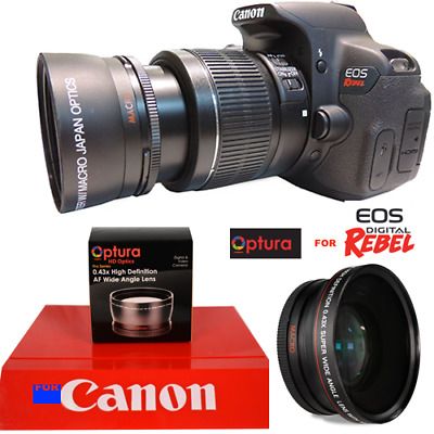 OPTURA PHOTO® 43x 58mm WIDE ANGLE LENS W/ Macro Close-up  FOR CANON EOS REBEL