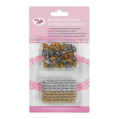 Gold Silver Birthday Christmas Party Cake Candles With Holders, Pack 24, Tala