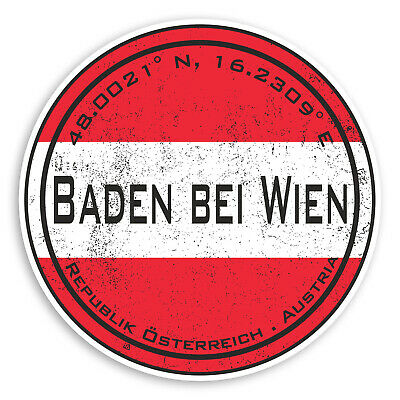 2 x 10cm Baden bei Wien Austria Vinyl Stickers Flag Sticker Luggage #20639