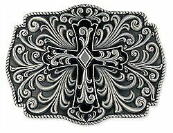 Contemporary Large Floral Cross Rectangular Womens Pewter Finish Belt Buckle
