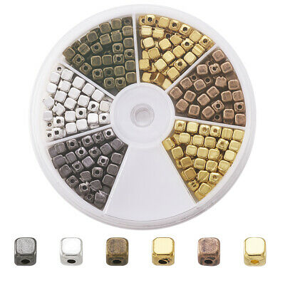 324pcs 6 Color Tibetan Alloy Cube Spacer Beads Nickel Free Metal Tiny Beads 4mm