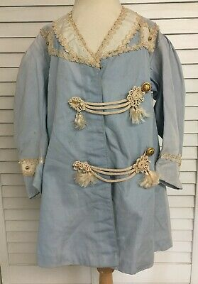 Vintage Blue Girls Womens Victorian Ornate Jcket Coat w Gold Beads & Lace Trim