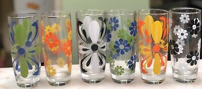 Vintage Retro Set Of Groovy Glass Drinking Harlequin Cups