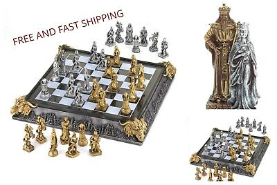 Chess Set Medieval Knights and Dragons Battleground Game