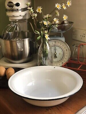 VINTAGE RETRO ENAMEL WARE LARGE PUDDING BAKING KITCHEN COOKING BOWL Can Hang