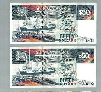 2 Singapore $50 ship series notes 1997 aUNC Consecutive numbers fifty dollars