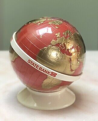 Vintage State Bank Of Victoria Globe Red Money Box
