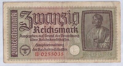 1939-1945 Germany Banknote - 20 Marks - GERMAN OCCUPIED TERRITORIES CURRENCY