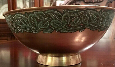 Large Solid Brass Embossed Bowl Made In India Etchings Home Decoration 7.3""
