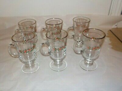 Arby 's HOLLY AND BERRY - set of 6 CHRISTMAS GLASSES GOBLETS - Footed Handled