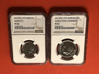 Morocco-2 Proof Coins 1974&1975(1&5 Dirham)Coins ,Certified By Ngc Pf68&69.Rare.