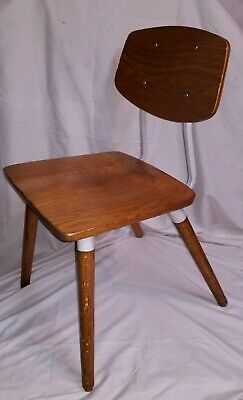 Vintage Raymond Loewy Chair Hill-Rom Mid Century Modern Industrial Oak Wood