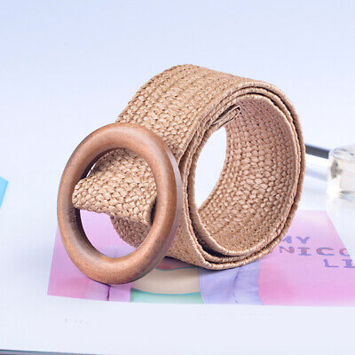 2 Color Round Wooden Buckle Elastic Straw Belt Women Casual Wide Woven Waistband