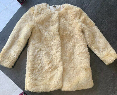 Zara Kids Girls Faux Fur Cream Coat Age 5-6 Years