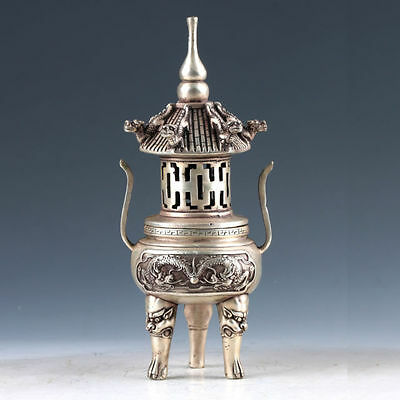 Antiques  Collectable Tibet Tibetan Silver Hand Carved Tower Incense Burner