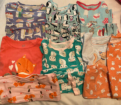 Carter's Girl Pajamas Size 5 Pajama Long Sleeve Pants 2pc Lot Of 6 Pairs