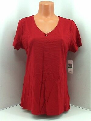 Nautica Jester Red Anchors V-Neck Sleep Shirt. Size Lg. Style H4KS00