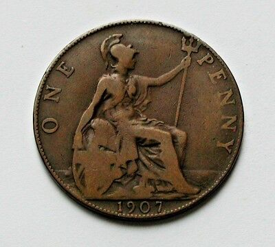 1907 UK (British) Edward VII Coin - One Penny (1d) - brown
