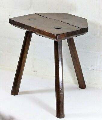 Antique Wooden Milking Stool English Farmhouse Low Seat Step Footstool Rustic